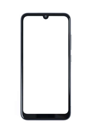 Front view of a new modern black frameless smartphone mockup with blank white screen isolated on a white background (high details).