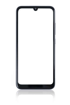 Front view of a new modern black smartphone mockup with blank white screen and mirror reflection isolated on a white background (high details).