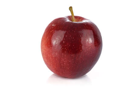Perfect red ripe apple isolated on white background in close-up