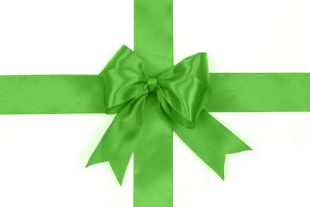 Shiny green satin bow on a white background with no shadows in close-up ( high details)