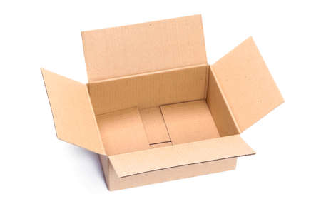 Top view of opened packaging cardboard box isolated on a white background in close-up Standard-Bild