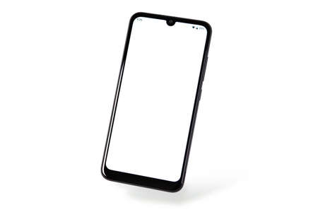 New modern black frameless smartphone mockup with blank white screen  Isolated on a white background (high details). Standard-Bild
