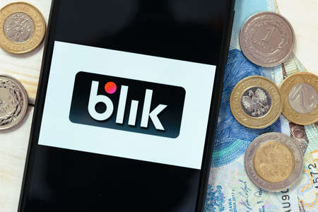 Krakow, Poland - October 20, 2020:  Blik sign on the smartphone screen. Blik is popular polish quick e-payment service in Poland. Standard-Bild - 157820921