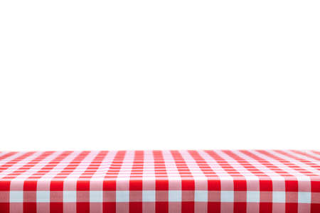 Italian cooking template - blank table with a red checked tablecloth on a white background with copy space. Stockfoto