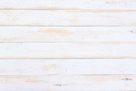 Top view of old white painted wooden table as rustic background or texture (high detail) Stockfoto
