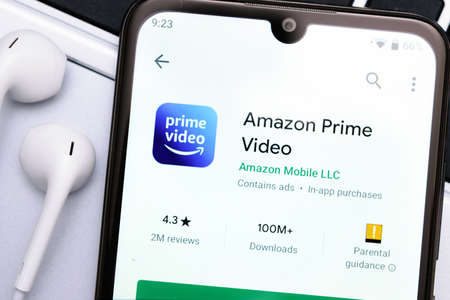 Krakow, Poland - November 08, 2020: Amazon Prime Video application  in Google Play Store. Amazon Prime Video is famous online streaming video service. Redactioneel