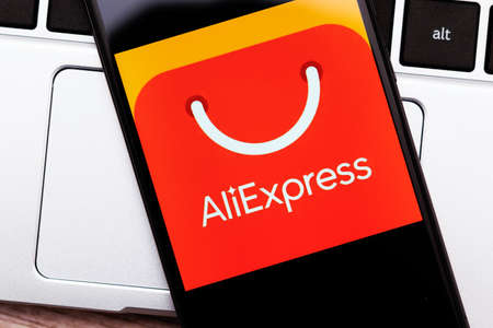 Krakow, Poland - November 08, 2020: AliExpress sign on the smartphone screen. AliExpress is popular internet shopping platform created by Alibaba. Redactioneel
