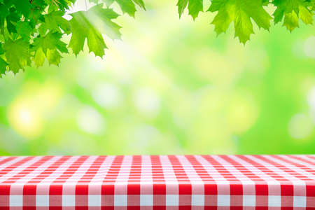 Template for outdoor cooking - fresh green maple leaves over an empty table with classic Italian red checkered tablecloth on a sunny day with copy space.