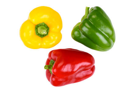 Top view of three perfect peppers on a white background without shadows (high details)