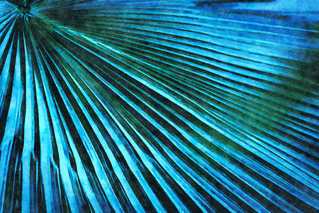 Digital art painting - green toned full frame image of trendy tropical palm leaf (watercolor effect)