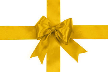 Shiny golden satin bow on a white background with no shadows in close-up ( high details)