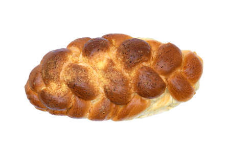 Top view of traditional sweet braided yeast bread called - zopf, challah, petticoat or brioche on white background (high detail)