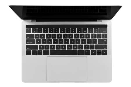 Top view of a modern generic silver laptop with a blank screen isolated on a white background. High resolution image.