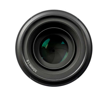 Top view of a 50mm professional optical lens for modern DSLR cameras isolated on a white background. High resolution image. Stock fotó