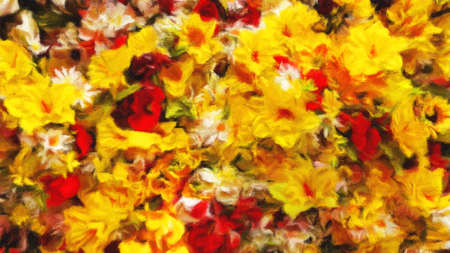 Digital art painting canvas - bunch of blooming multicolored summer flowers blooming in the garden ( oil painting effect)