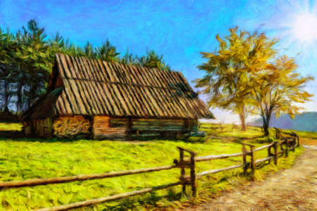 Digital oil painting canvas - old wooden highlander hut in the Carpathian Mountains on a sunny day