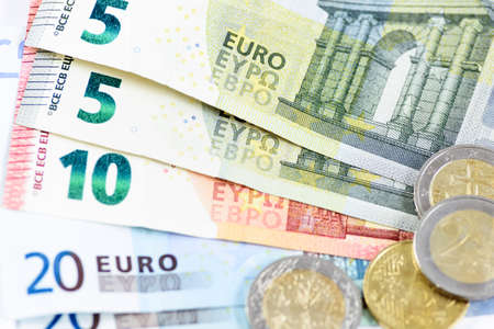 Financial background - close-up of a many different Euro money in close-up Stock fotó