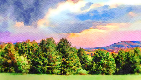 Wide panoramic view of an autumn forest in the Carpathian Mountains with picturesque and dramatic cloudy sky. Digital watercolor painting effect. Standard-Bild