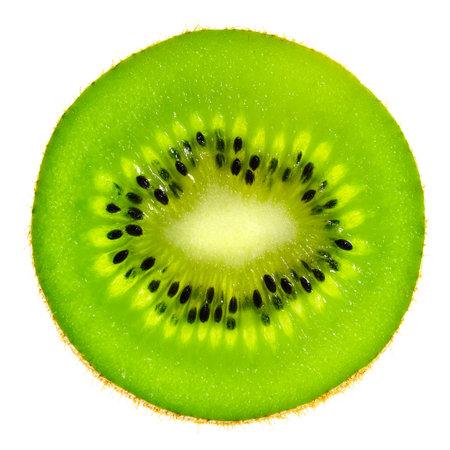 Perfect round slice of fresh kiwi fruit isolated on white background without shadows. High details macro shot image. Stock fotó - 166893180
