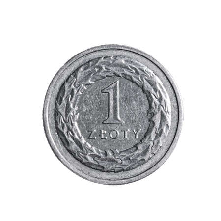 Close-up of a one polish zloty coin isolated on a white background. High details macro shot image.