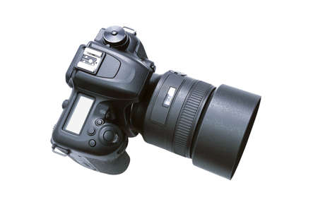 Top view of a modern  DSLR camera isolated on a white background without shadows. Stock Photo