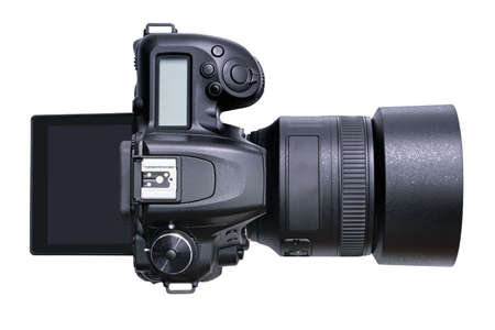Top view of a new modern black DSLR camera isolated on a white background.