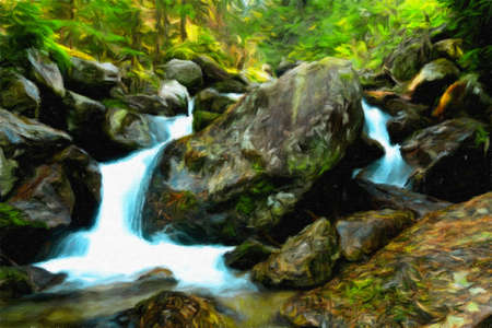 Digital oil painting canvas - mountain stream and waterfall in the forest Stock Photo