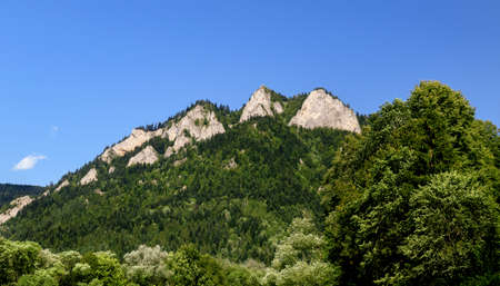 View to Three Crowns peak in Pieniny National Park in Slovakia on a clear blue sky background
