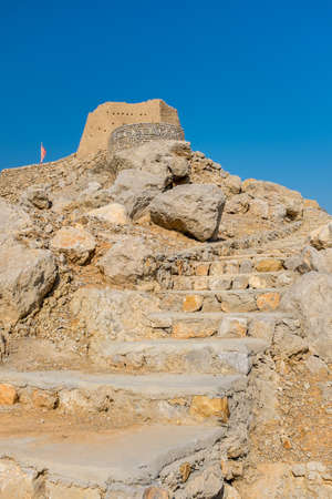 Ras Al Khaimah/UAE - November 19, 2014 : Dhayah Fort was built in the 18 century , which is the highest hilltop fort in the UAE .
