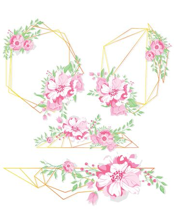 Floral geometric vector design frame. Pink hydrangea, pink rose, camellia, eucalyptus and greenery bouquets. Spring wedding flowers. Gold line banner. All elements are isolated and editable