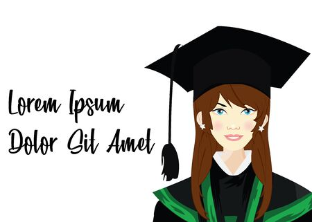 Portrait closeup beautiful smiley graduate graduated student girl young woman in cap gown isolated green background wall. Celebrating graduation ceremony concept. Vettoriali