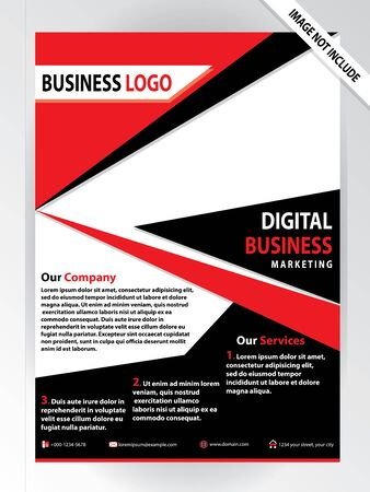 Red and black design, cover modern layout, annual report, poster, brochure with colorful triangles, geometric shapes for tech, science, market with light background