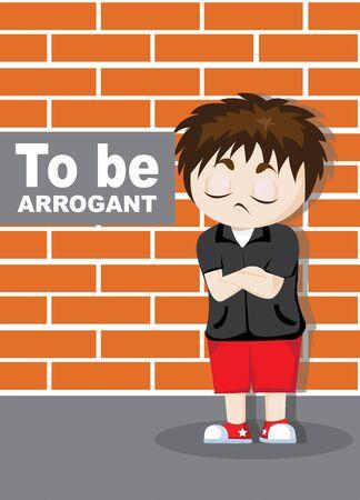 to be arrogant emoticon boy cartoon character illustration