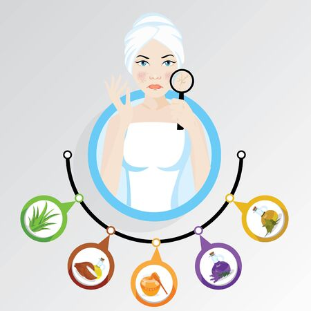 woman illustration what to do if you have winter dry skin care Stockfoto - 146080343