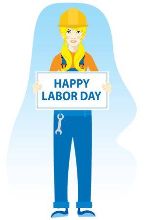 Happy labor day woman illustration