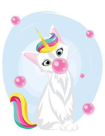 cute cat unicorn with bubblegum. kawaii hand drawn cartoon. Unicat Illustration