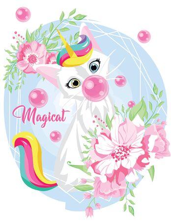cute cat unicorn with bubblegum in geometric flower frame. kawaii hand drawn cartoon. Unicat