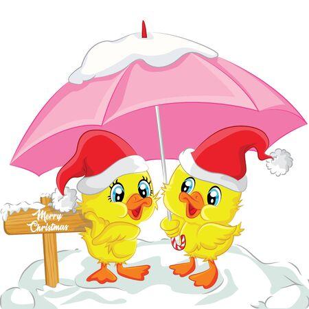 Duck couple stand on snow wearing umbrellas, duck vector Christmas vector duck vector Christmas vector Santa Claus Xmas cartoon character speech bubble illustration yellow