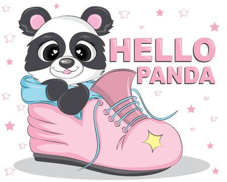 Hello Panda Inside Boots Cartoon Character. Vector Illustration. Gift card and postcard. Banco de Imagens - 150103672