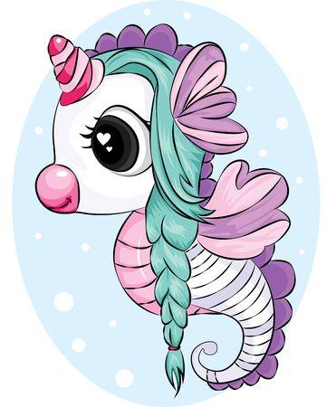 Beautiful unicorn with green hair on cyan background vector illustrator