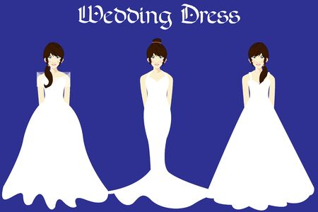 Vector Wedding dresses in Different styles with hair. Beautiful Bride clothing for wedding day on a hanger. Elegant white Dress silhouette.