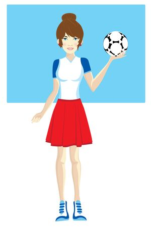 Full length portrait of a female soccer player With the ball in his hand Illustration