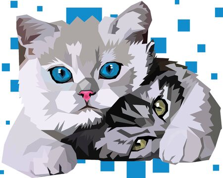 Friendship between two cats, brothers and friend Ilustração