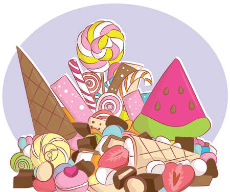 Many colorful lollipops with a sweet flavor and fruit placed on the plate. Stock Illustratie
