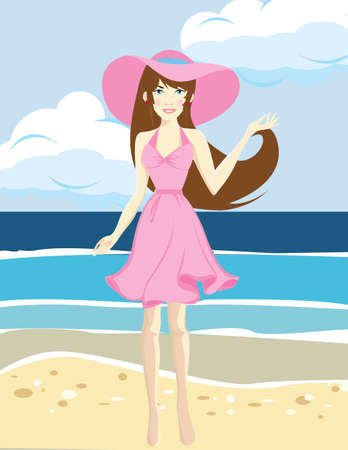 Happy traveler woman in pink dress enjoys her tropical beach vacation
