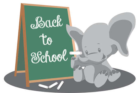 back to school education cute little elephant with chalkboard vector illustration