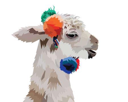 Llama alpaca head baby face. Cute cartoon funny kawaii smiling character. Childish collection. Fluffy hair fur. T-shirt, greeting card, poster template print. Flat design. Yellow background. Illustration