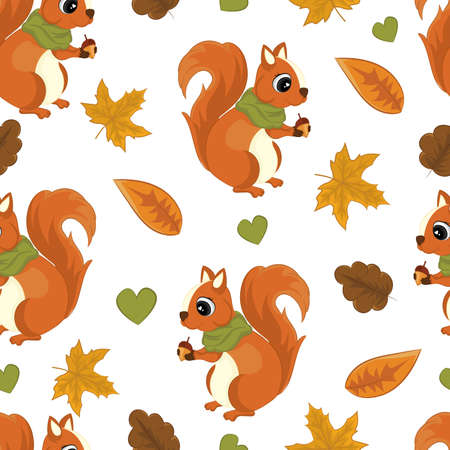 Autumn seamless pattern with squirrel. Watercolor hand drawing illustration. Vettoriali