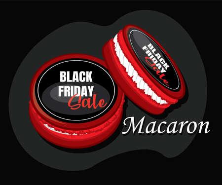 Black and crimson macaroon. Macaroon Black friday sale.