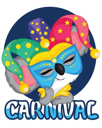 Cute Koala Carnival Celebration with mask
